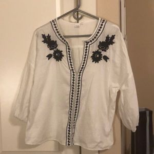 Gap tunic white with navy flowers
